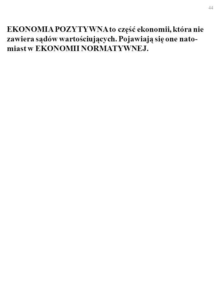 EKONOMIA POZYTYWNA to część ekonomii, która nie zawiera sądów wartościujących.