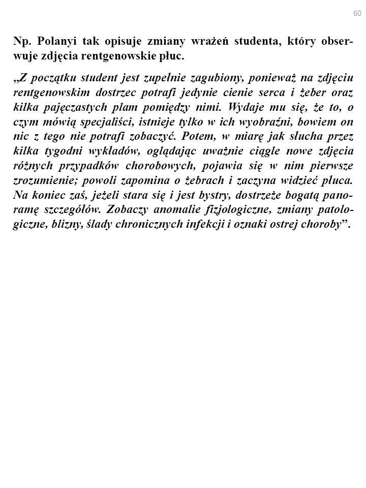 Np. Polanyi tak opisuje zmiany wrażeń studenta, który obser-wuje zdjęcia rentgenowskie płuc.