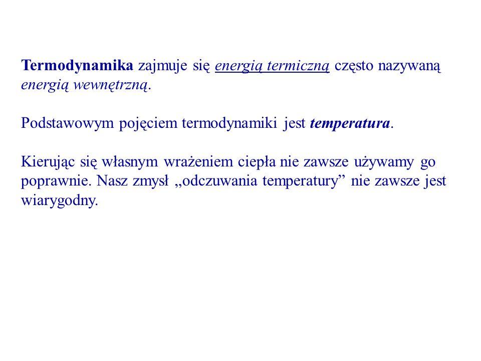 Termodynamika zajmuje się energią termiczną często nazywaną energią wewnętrzną.