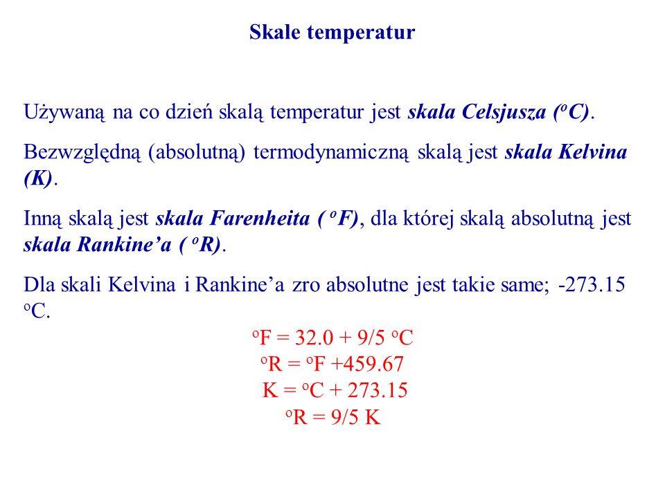 Skale temperatur Używaną na co dzień skalą temperatur jest skala Celsjusza (oC).