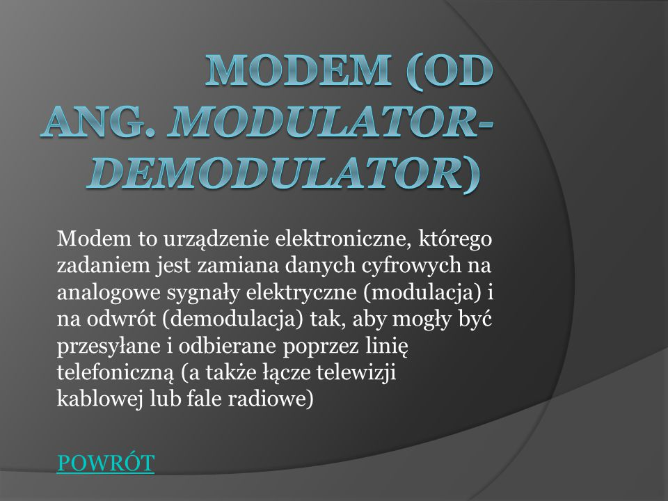 Modem (od ang. MOdulator-DEModulator)