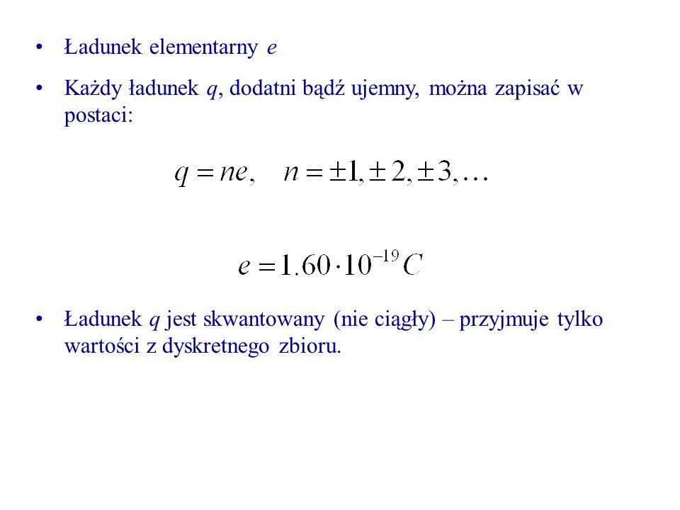 Ładunek elementarny e Każdy ładunek q, dodatni bądź ujemny, można zapisać w postaci: