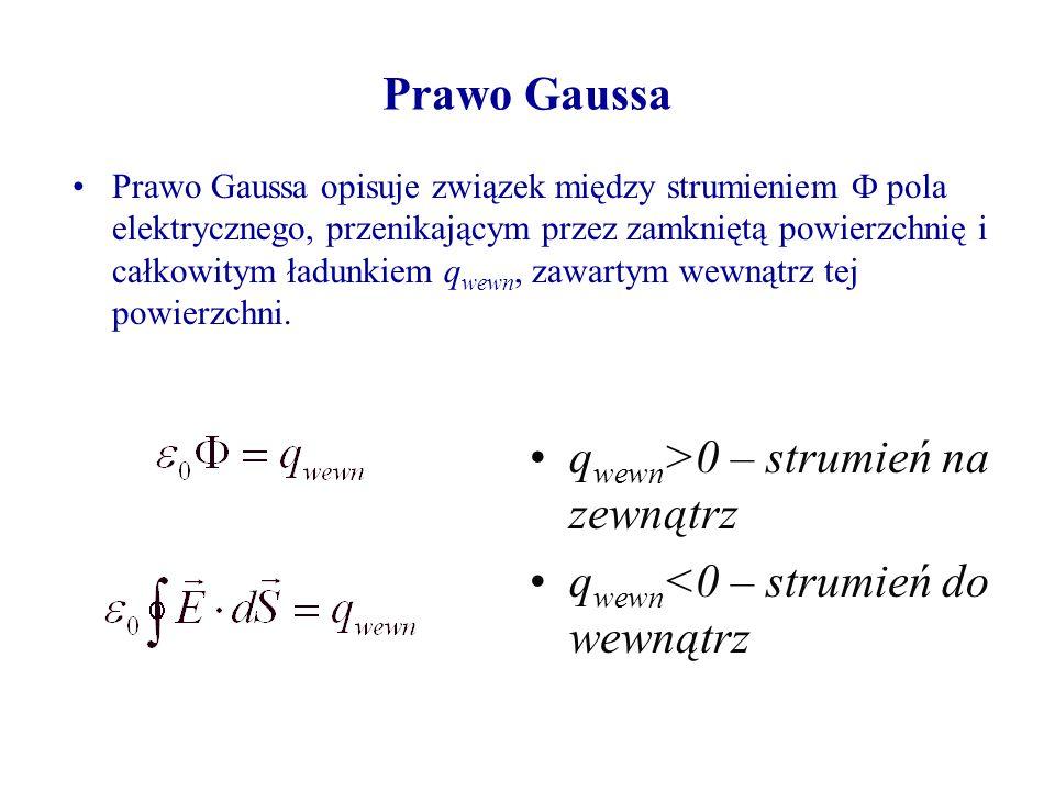 qwewn>0 – strumień na zewnątrz qwewn<0 – strumień do wewnątrz