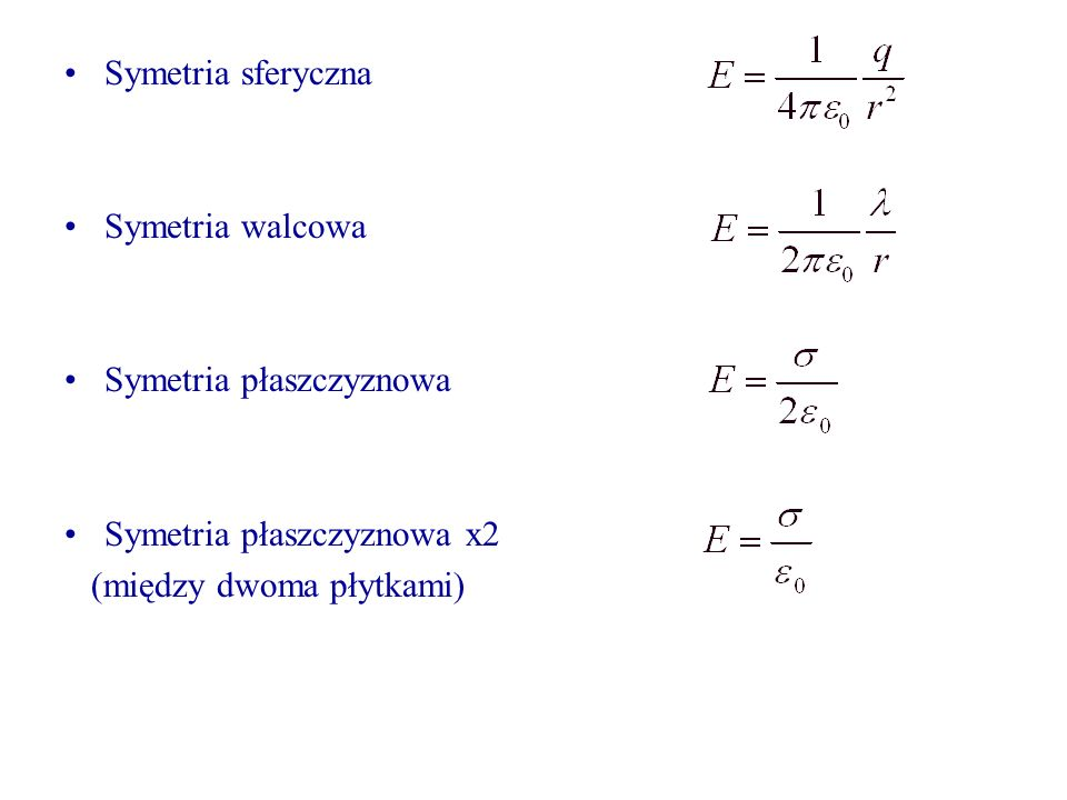 Symetria sferyczna Symetria walcowa. Symetria płaszczyznowa.