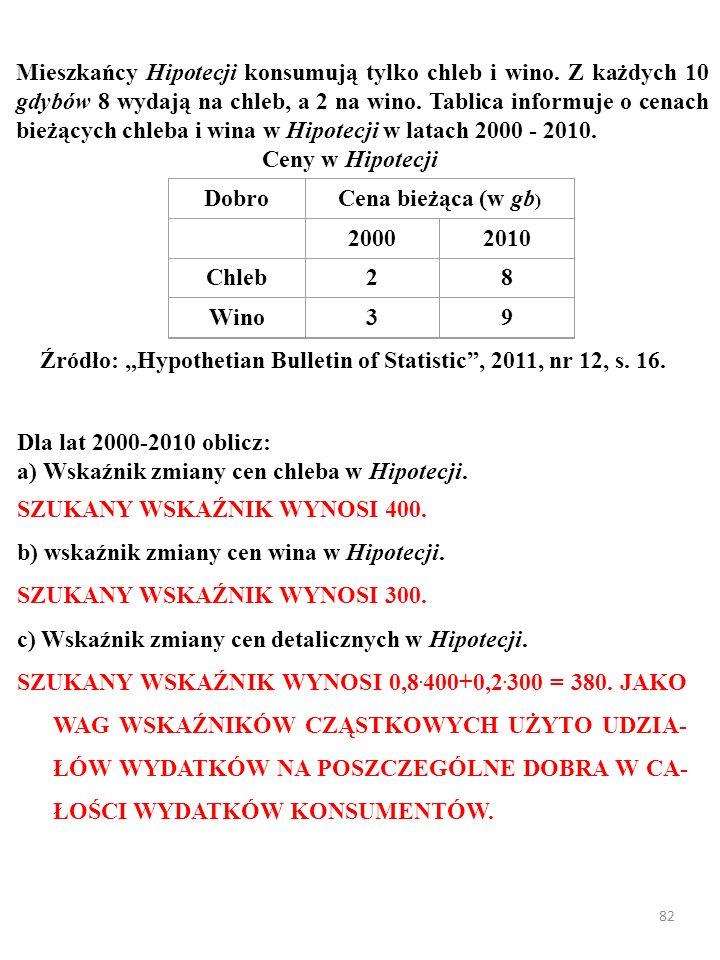 Cena bieżąca (w gb) 2000 2010 Chleb 2 8 Wino 3 9