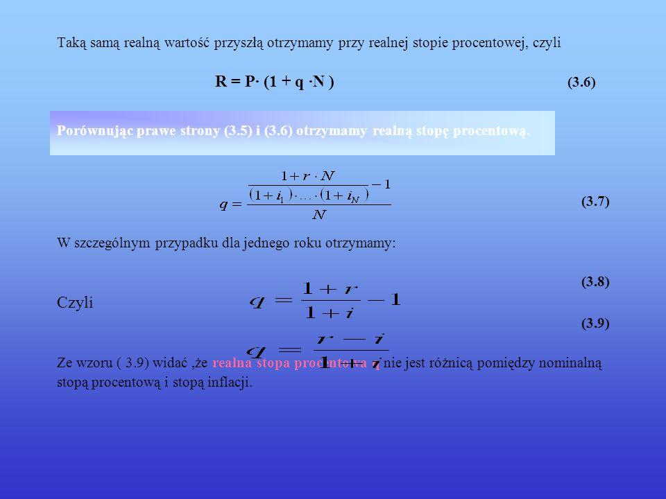 Taką samą realną wartość przyszłą otrzymamy przy realnej stopie procentowej, czyli R = P· (1 + q ·N ) (3.6)