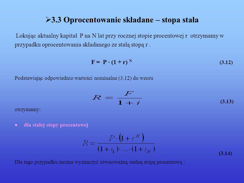 3.3 Oprocentowanie składane – stopa stała