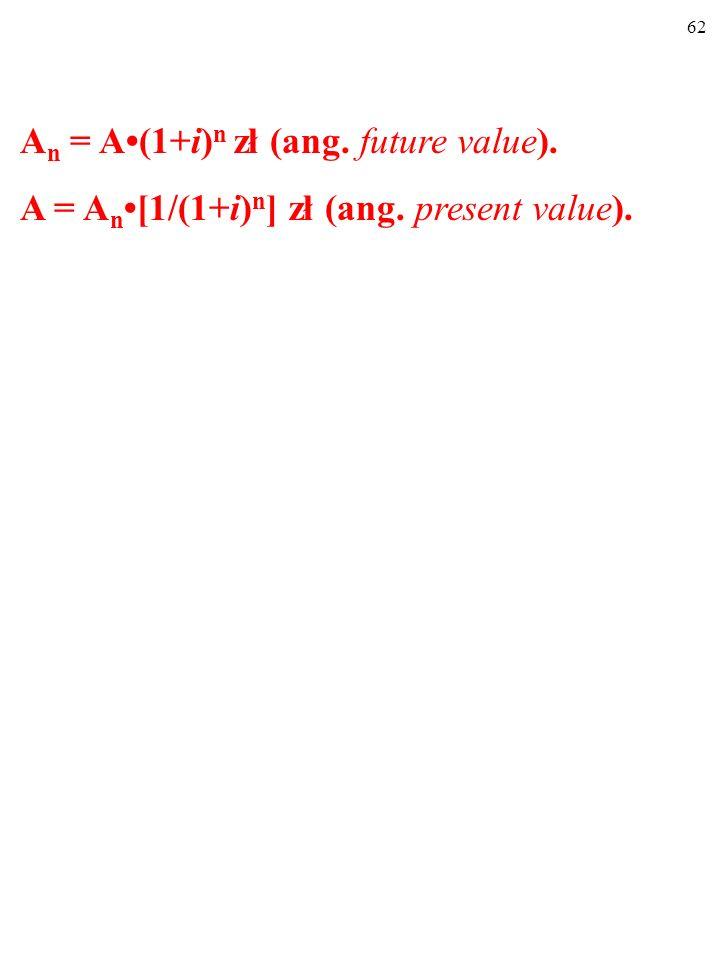 An = A•(1+i)n zł (ang. future value).