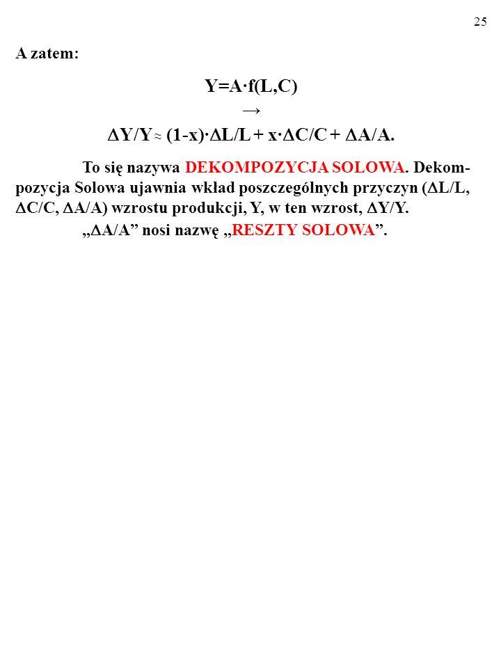 Y/Y ≈ (1-x)·L/L + x·C/C + A/A.