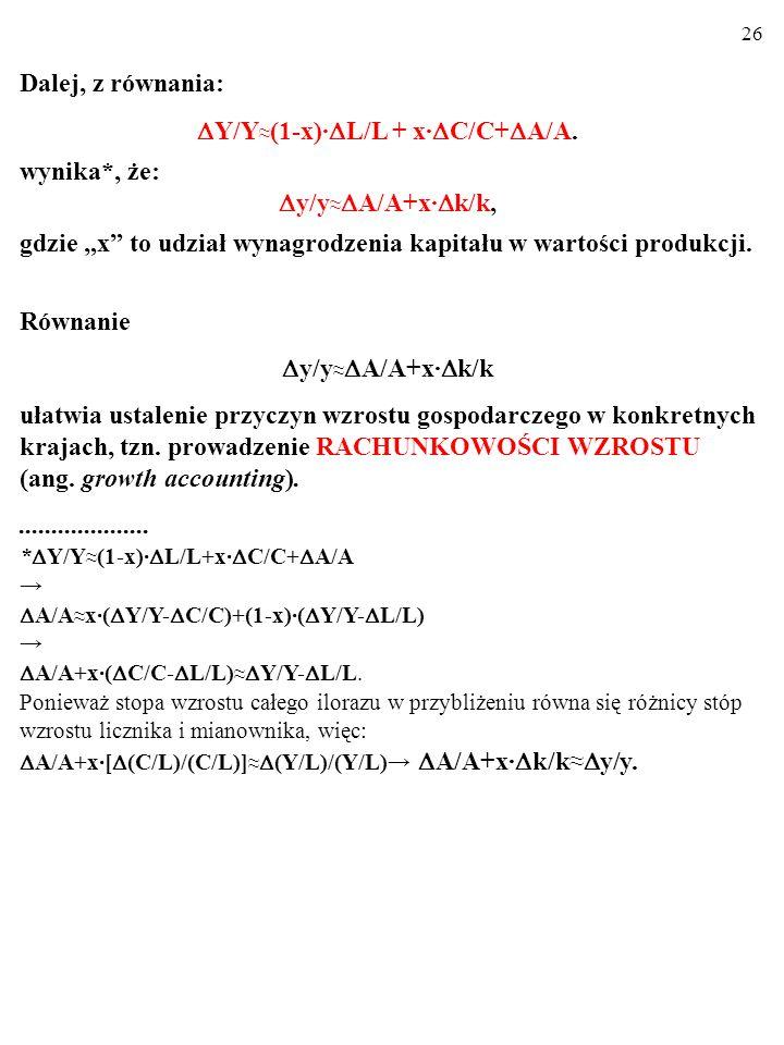 Y/Y≈(1-x)·L/L + x·C/C+A/A.