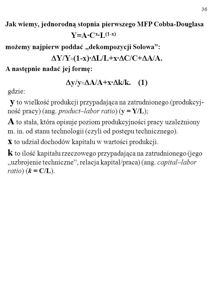 Y/Y≈(1-x)·L/L+x·C/C+A/A.