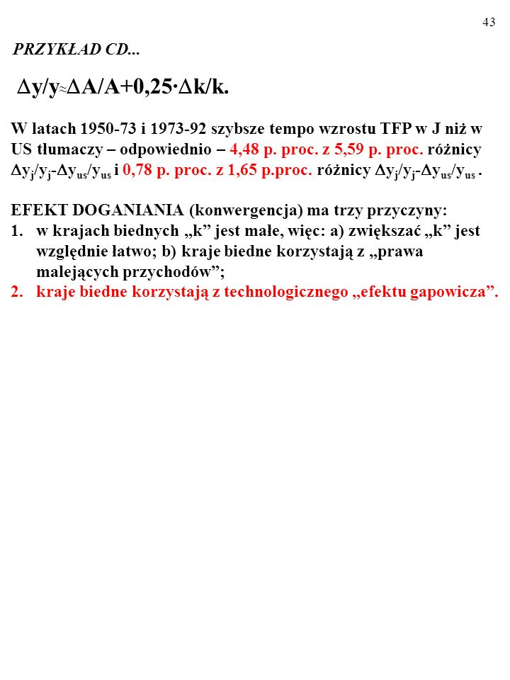 y/y≈A/A+0,25·k/k. PRZYKŁAD CD...