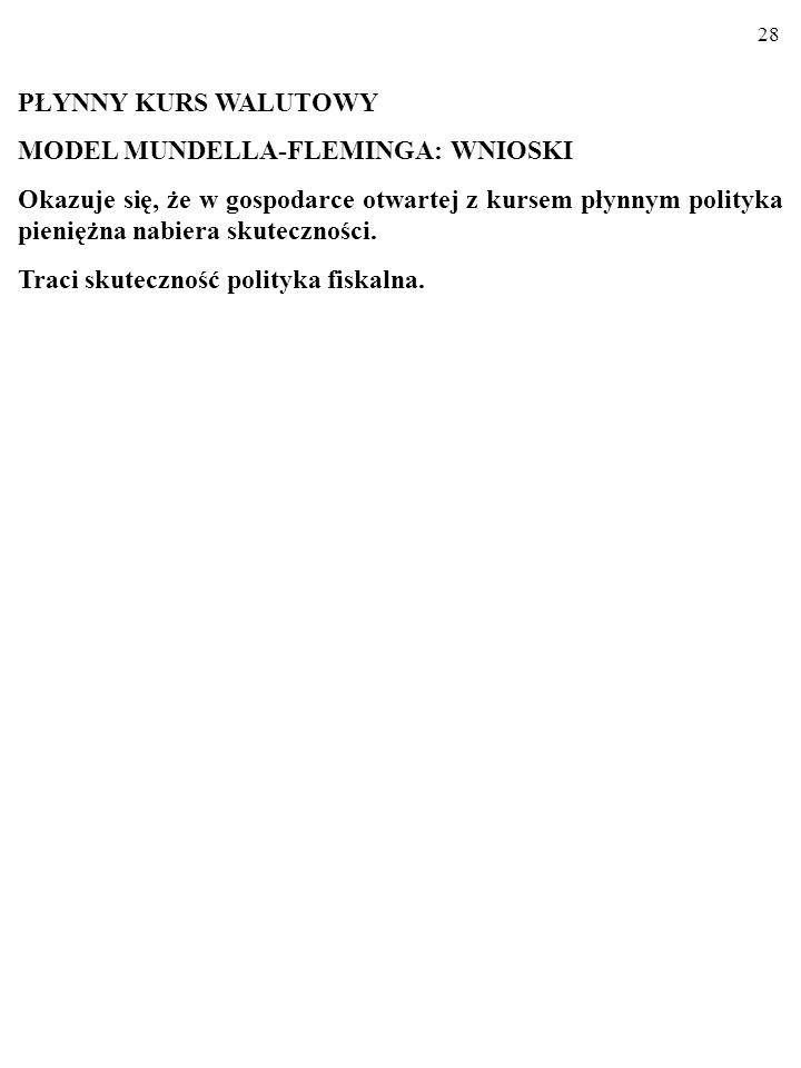 PŁYNNY KURS WALUTOWY MODEL MUNDELLA-FLEMINGA: WNIOSKI.