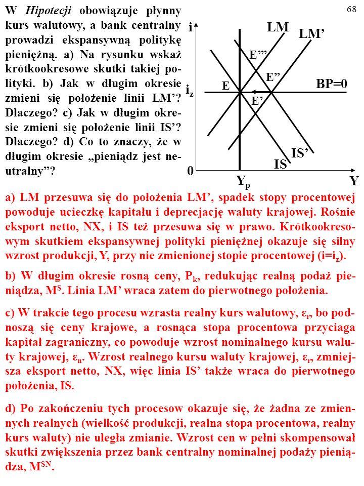 """W Hipotecji obowiązuje płynny kurs walutowy, a bank centralny prowadzi ekspansywną politykę pieniężną. a) Na rysunku wskaż krótkookresowe skutki takiej po-lityki. b) Jak w długim okresie zmieni się położenie linii LM' Dlaczego c) Jak w długim okre-sie zmieni się położenie linii IS' Dlaczego d) Co to znaczy, że w długim okresie """"pieniądz jest ne-utralny"""