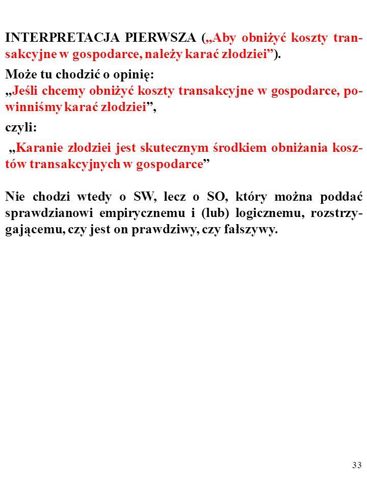 """INTERPRETACJA PIERWSZA (""""Aby obniżyć koszty tran-sakcyjne w gospodarce, należy karać złodziei )."""