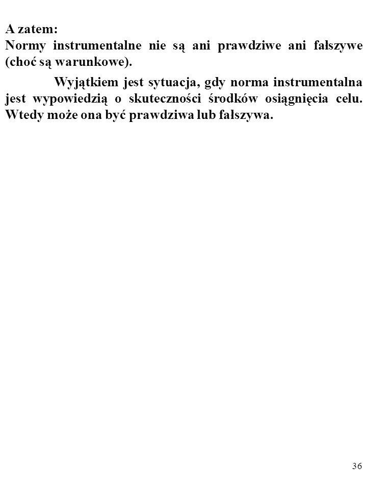 A zatem: Normy instrumentalne nie są ani prawdziwe ani fałszywe (choć są warunkowe).