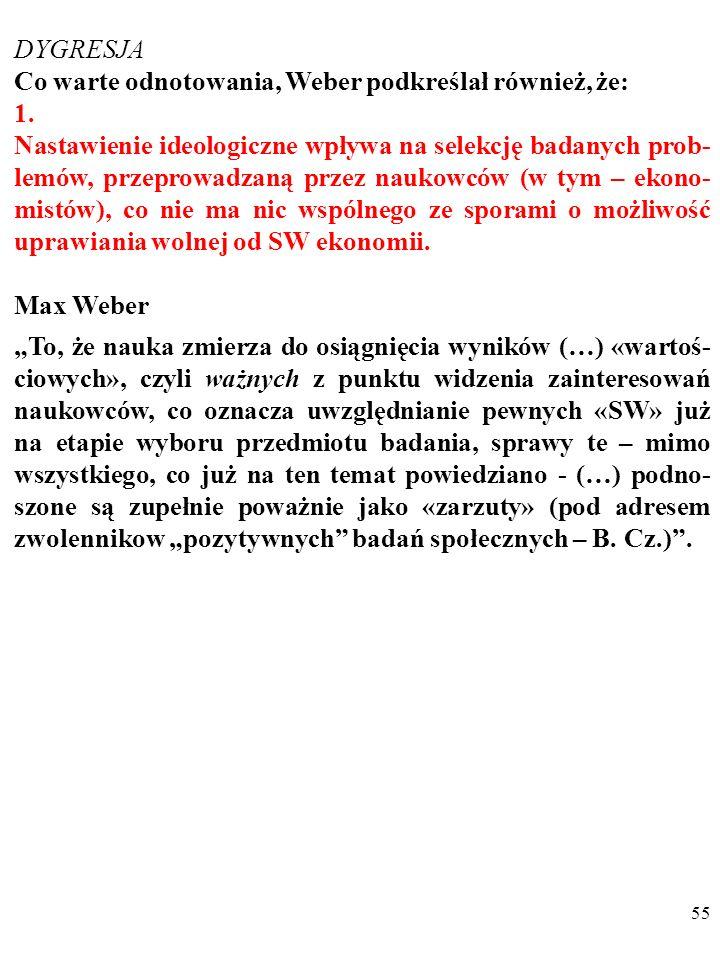 DYGRESJA Co warte odnotowania, Weber podkreślał również, że: 1.