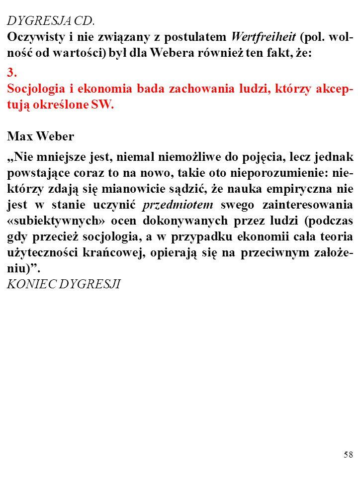 DYGRESJA CD. Oczywisty i nie związany z postulatem Wertfreiheit (pol. wol-ność od wartości) był dla Webera również ten fakt, że: