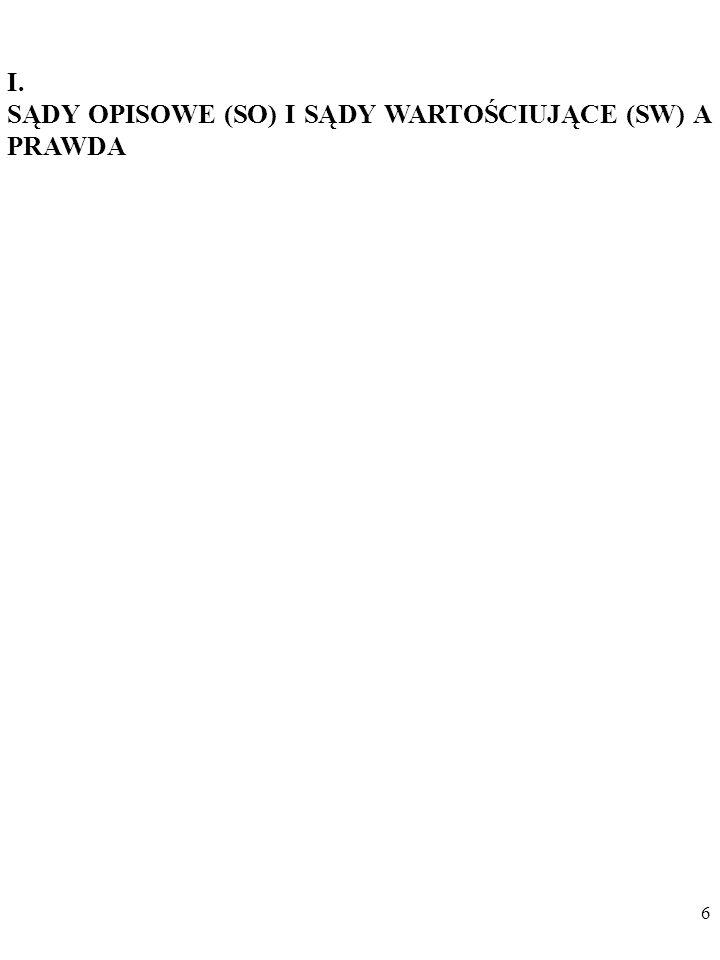 I. SĄDY OPISOWE (SO) I SĄDY WARTOŚCIUJĄCE (SW) A PRAWDA