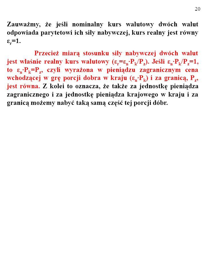Zauważmy, że jeśli nominalny kurs walutowy dwóch walut odpowiada parytetowi ich siły nabywczej, kurs realny jest równy εr=1.