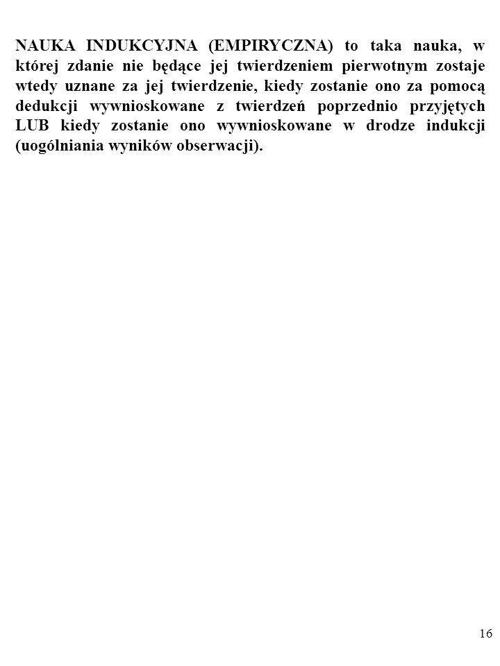 NAUKA INDUKCYJNA (EMPIRYCZNA) to taka nauka, w której zdanie nie będące jej twierdzeniem pierwotnym zostaje wtedy uznane za jej twierdzenie, kiedy zostanie ono za pomocą dedukcji wywnioskowane z twierdzeń poprzednio przyjętych LUB kiedy zostanie ono wywnioskowane w drodze indukcji (uogólniania wyników obserwacji).