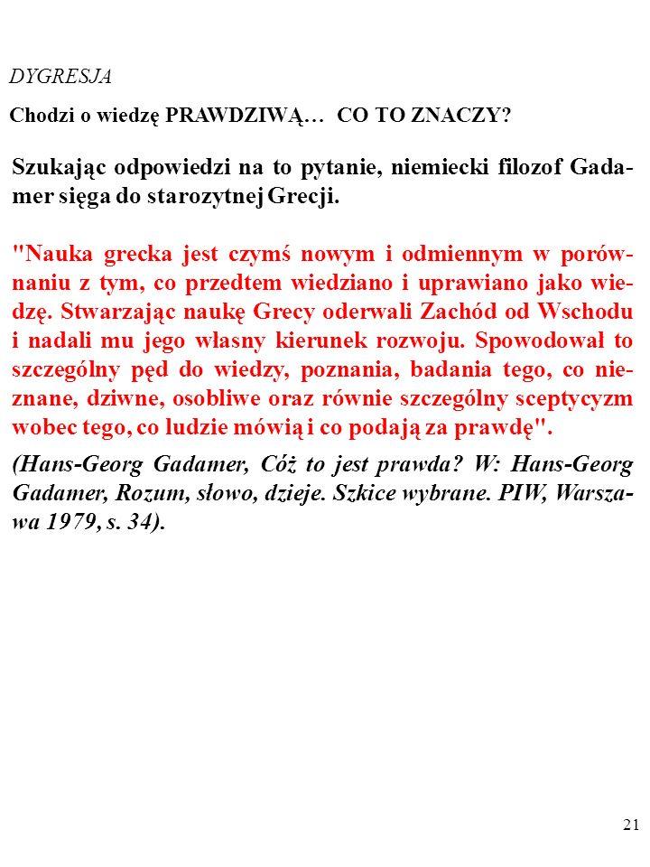 DYGRESJA Chodzi o wiedzę PRAWDZIWĄ… CO TO ZNACZY Szukając odpowiedzi na to pytanie, niemiecki filozof Gada-mer sięga do starozytnej Grecji.
