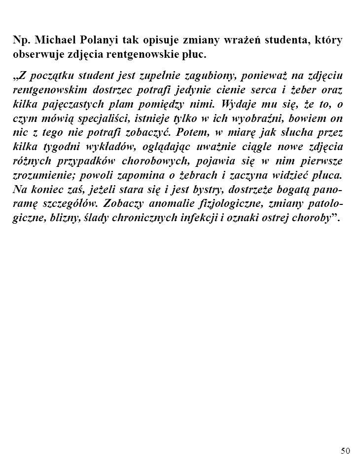 Np. Michael Polanyi tak opisuje zmiany wrażeń studenta, który obserwuje zdjęcia rentgenowskie płuc.