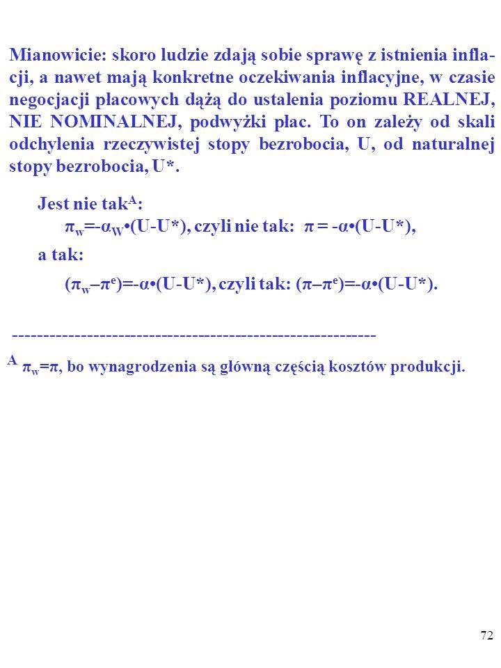 A πw=π, bo wynagrodzenia są główną częścią kosztów produkcji.