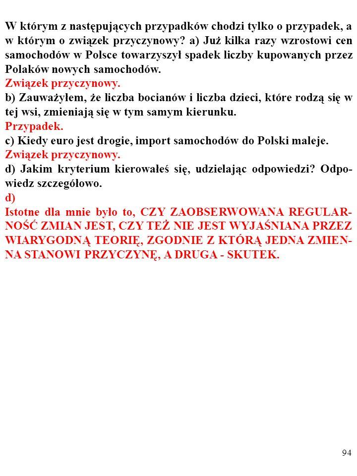 W którym z następujących przypadków chodzi tylko o przypadek, a w którym o związek przyczynowy a) Już kilka razy wzrostowi cen samochodów w Polsce towarzyszył spadek liczby kupowanych przez Polaków nowych samochodów.