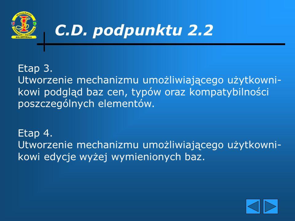 C.D. podpunktu 2.2 Etap 3. Utworzenie mechanizmu umożliwiającego użytkowni- kowi podgląd baz cen, typów oraz kompatybilności.