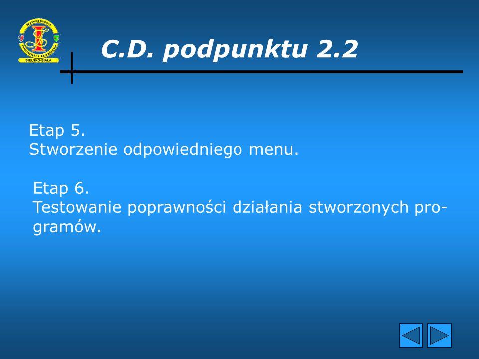 C.D. podpunktu 2.2 Etap 5. Stworzenie odpowiedniego menu. Etap 6.
