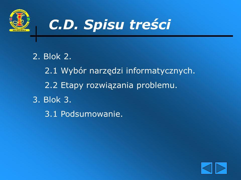 C.D. Spisu treści 2. Blok 2. 2.1 Wybór narzędzi informatycznych.