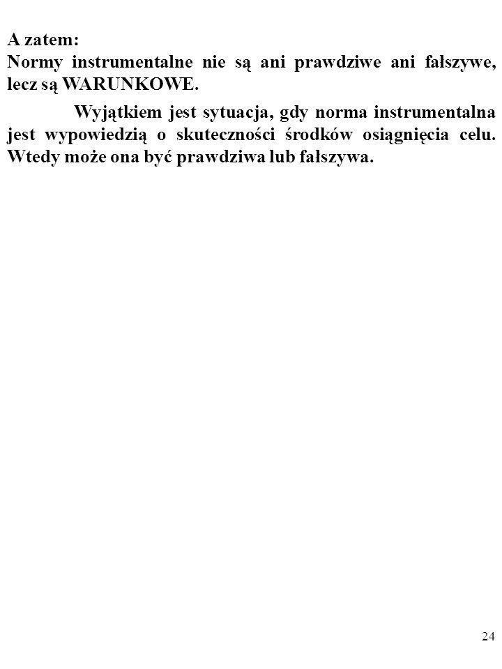 A zatem: Normy instrumentalne nie są ani prawdziwe ani fałszywe, lecz są WARUNKOWE.
