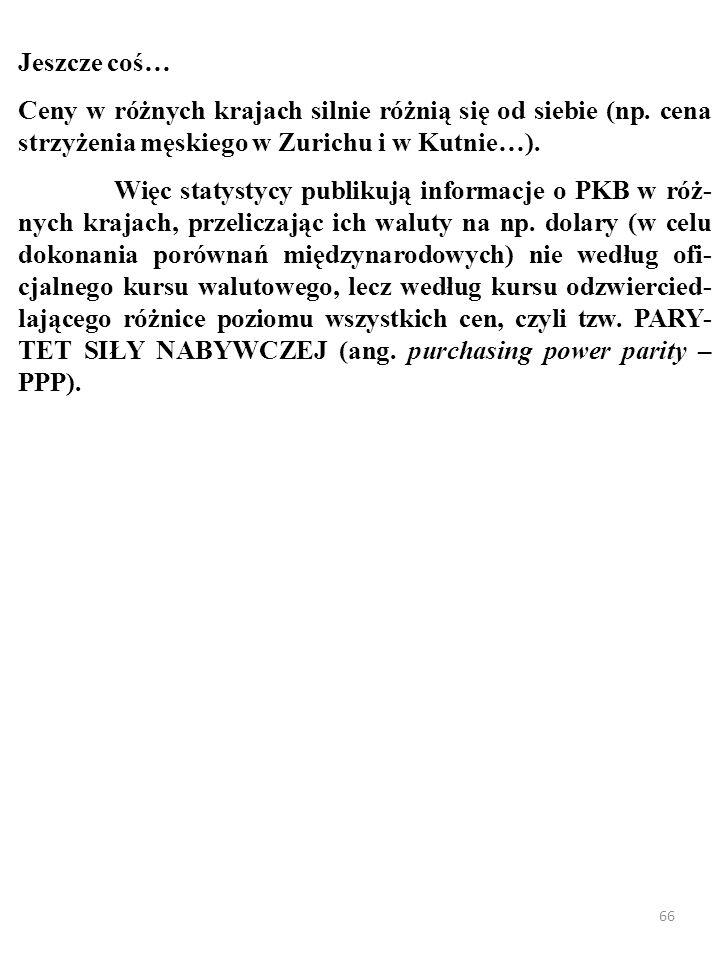 Jeszcze coś… Ceny w różnych krajach silnie różnią się od siebie (np. cena strzyżenia męskiego w Zurichu i w Kutnie…).