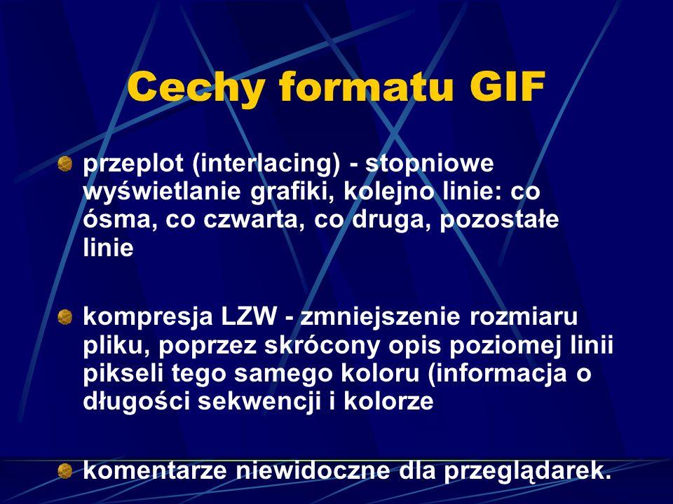 Cechy formatu GIF przeplot (interlacing) - stopniowe wyświetlanie grafiki, kolejno linie: co ósma, co czwarta, co druga, pozostałe linie.