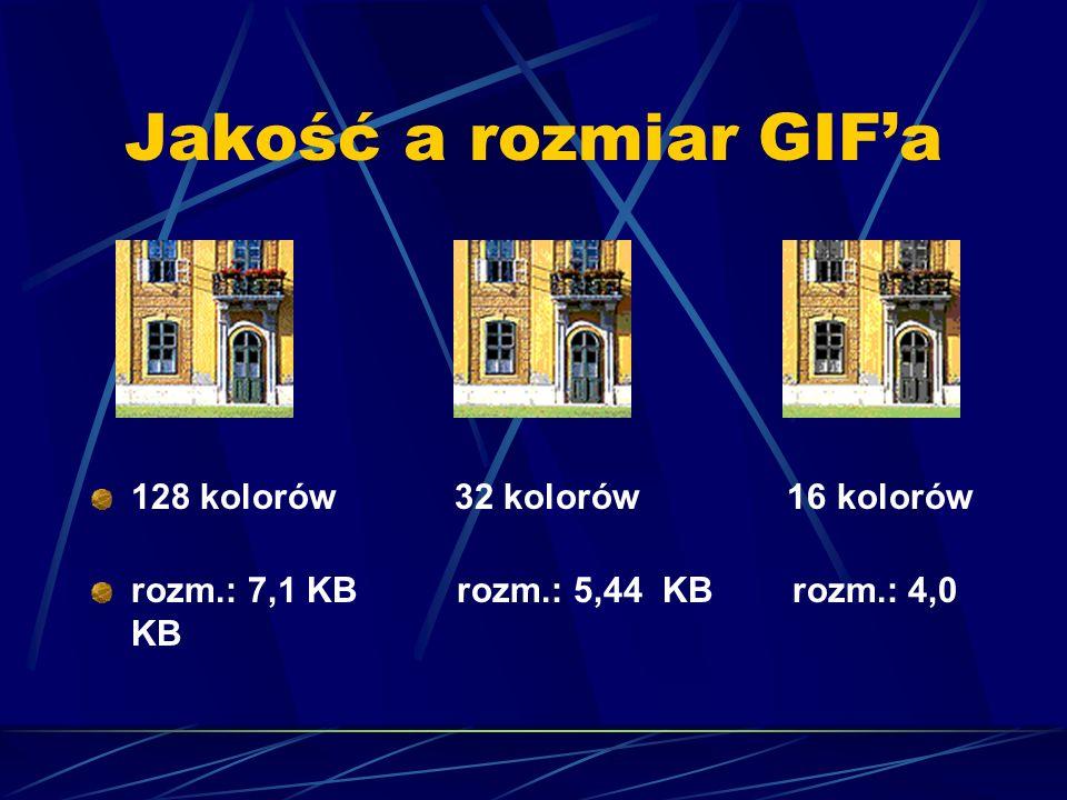 Jakość a rozmiar GIF'a 128 kolorów 32 kolorów 16 kolorów