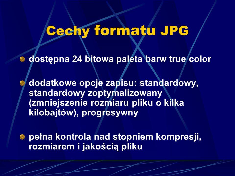 Cechy formatu JPG dostępna 24 bitowa paleta barw true color