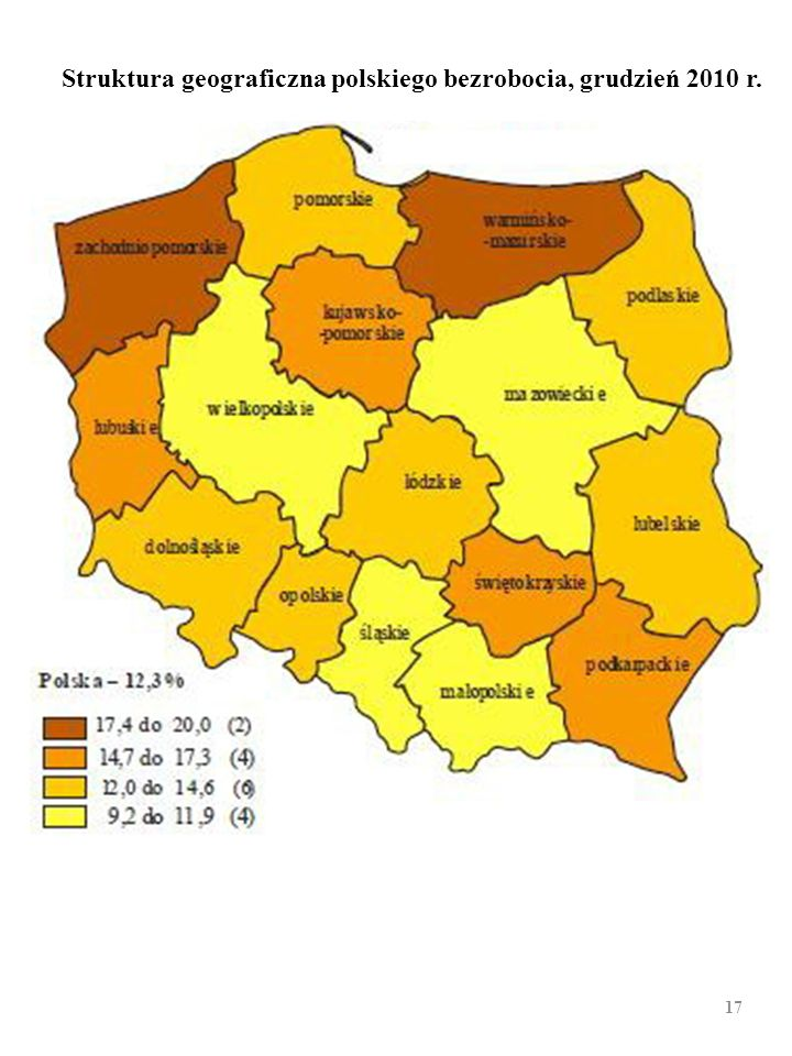 Struktura geograficzna polskiego bezrobocia, grudzień 2010 r.