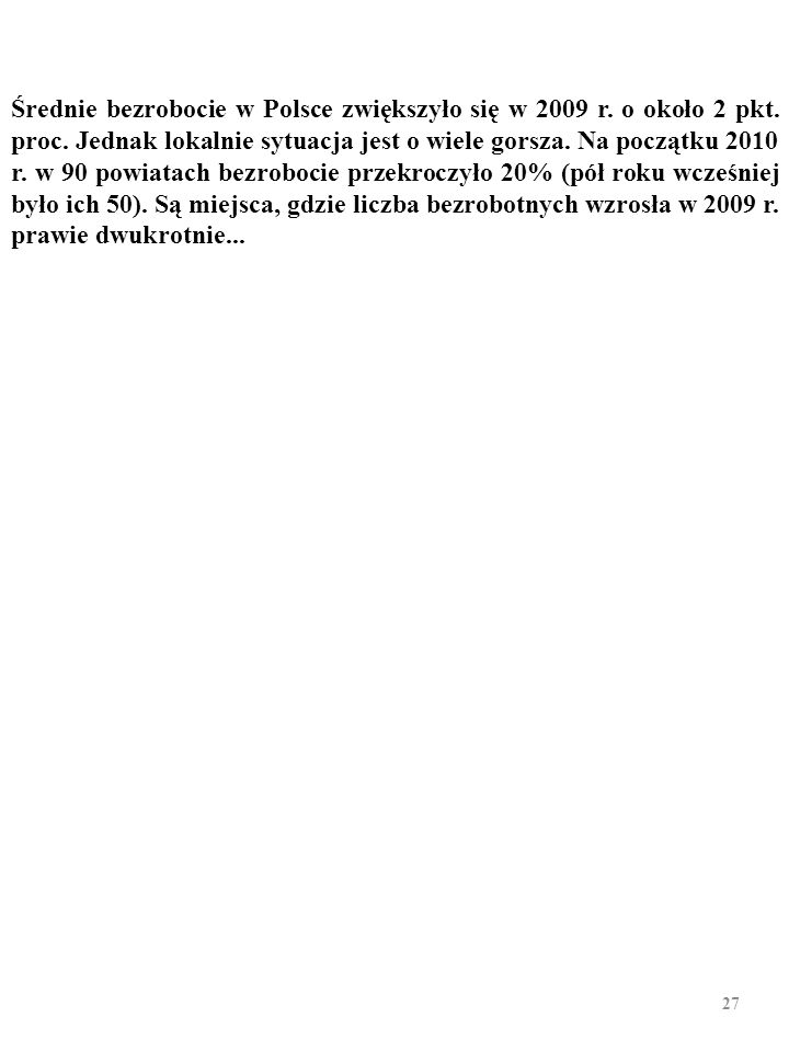 Średnie bezrobocie w Polsce zwiększyło się w 2009 r. o około 2 pkt