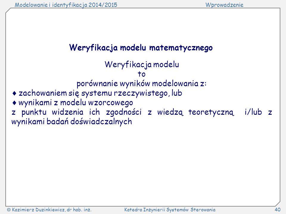 Weryfikacja modelu matematycznego