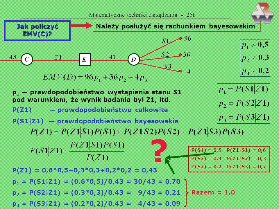 Matematyczne techniki zarządzania - 258 Jak policzyć EMV(C)