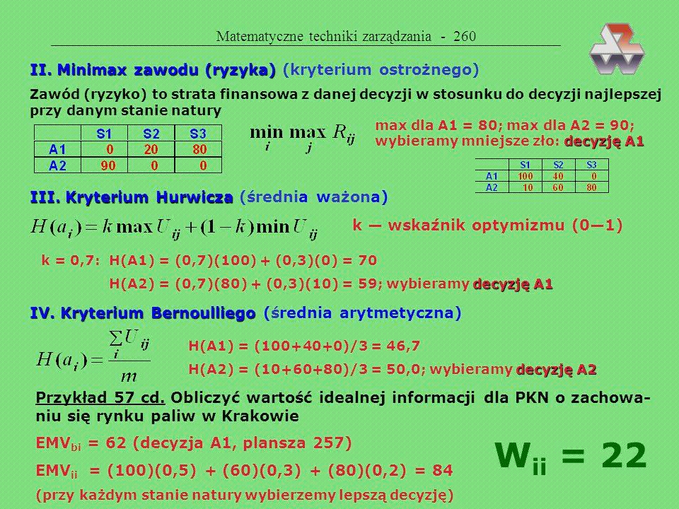 Wii = 22 Matematyczne techniki zarządzania - 260