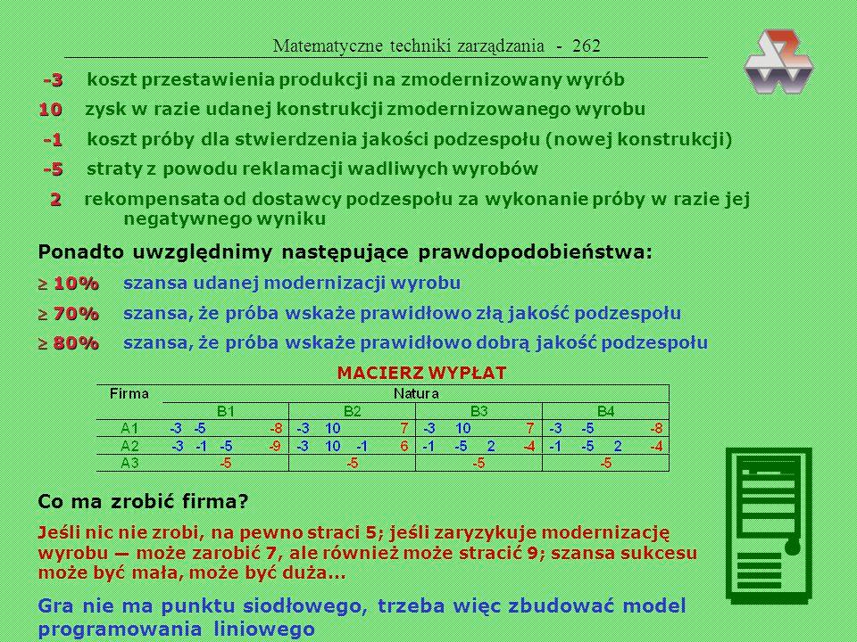 Matematyczne techniki zarządzania - 262