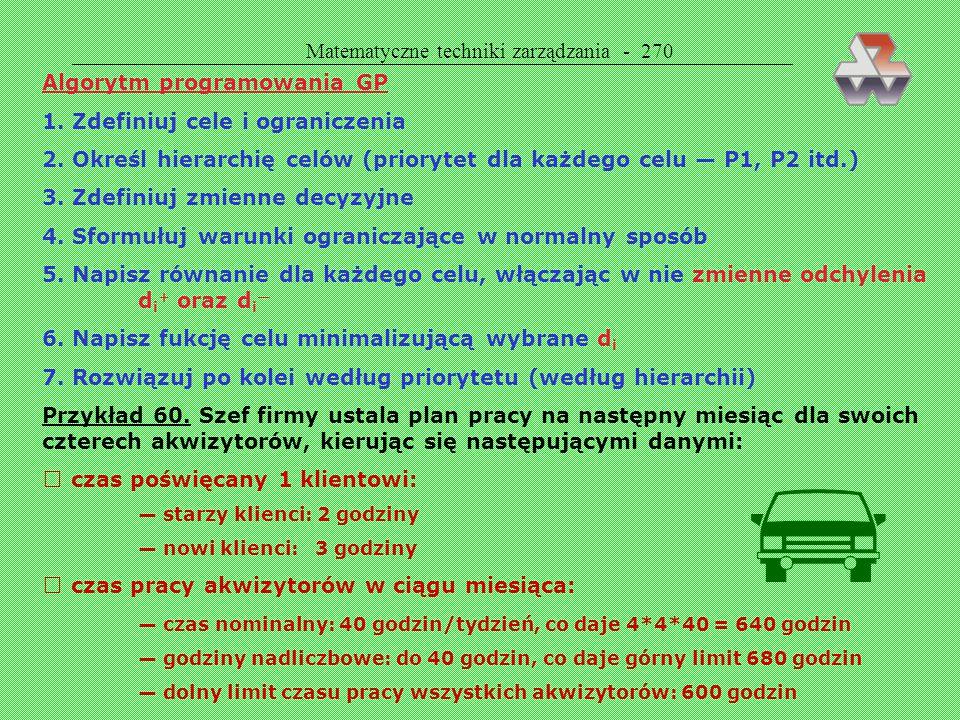  Matematyczne techniki zarządzania - 270 Algorytm programowania GP