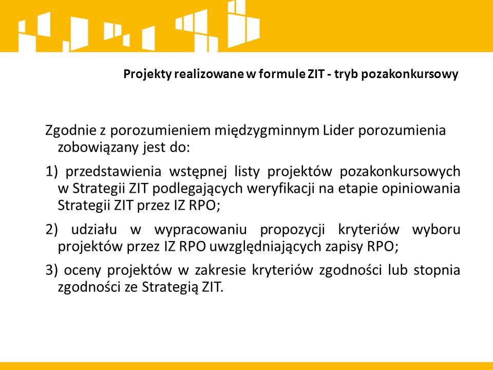 Projekty realizowane w formule ZIT - tryb pozakonkursowy