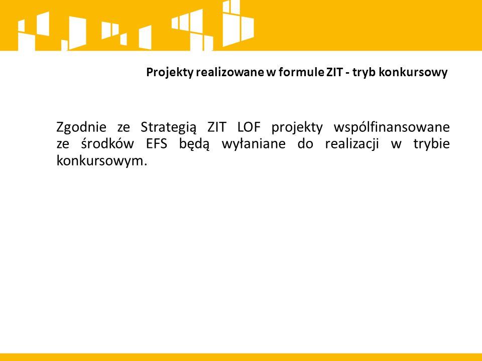 Projekty realizowane w formule ZIT - tryb konkursowy