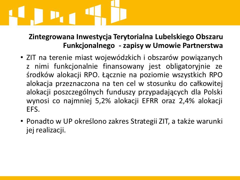 Zintegrowana Inwestycja Terytorialna Lubelskiego Obszaru Funkcjonalnego - zapisy w Umowie Partnerstwa