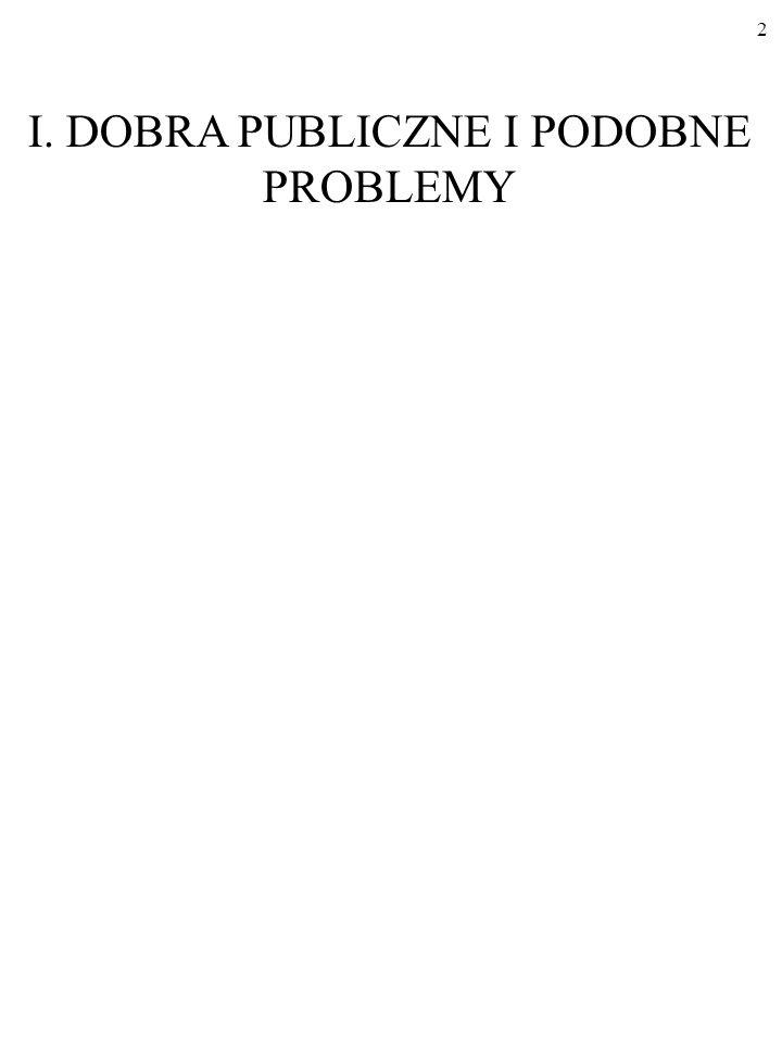 I. DOBRA PUBLICZNE I PODOBNE PROBLEMY