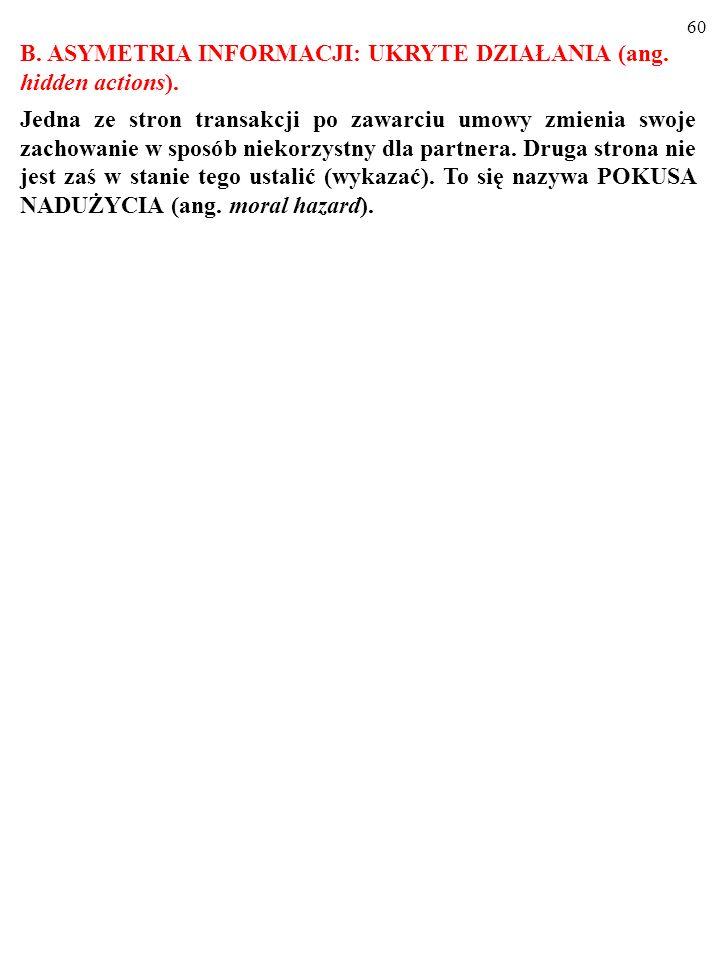 B. ASYMETRIA INFORMACJI: UKRYTE DZIAŁANIA (ang. hidden actions).