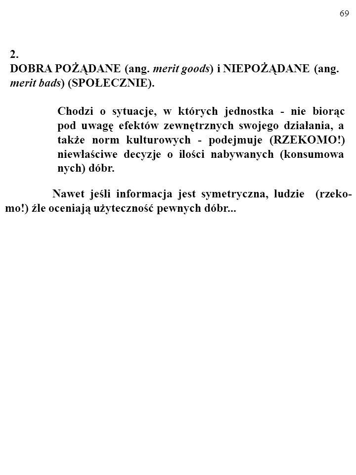 2. DOBRA POŻĄDANE (ang. merit goods) i NIEPOŻĄDANE (ang. merit bads) (SPOŁECZNIE).